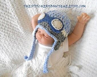 Baby boy  aviator hat coming home outfit goggles newborn boy rockateer pilot hat photo prop hat blue gray tweed wool crochet