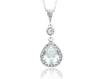 Wedding Necklace Bridal Necklace Cubic Zirconia Teardrop Pendant Necklace Bridesmaid Necklace Wedding Jewellery Bridal Jewelry