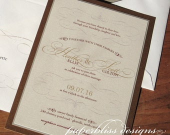 Old World Wedding Invitations SAMPLE SET - Vintage wedding invitation suite, European wedding invite set, rustic vineyard winery invites