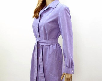 Vintage 1970s Dress Lavender Lilac Ultrasuede Coat Dress / Small to Medium