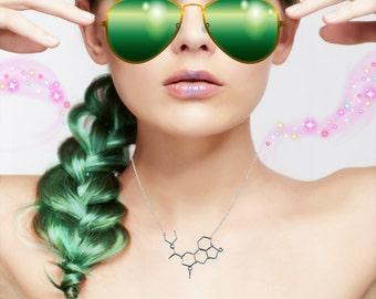LSD Molecule Necklace - Chemistry Jewelry - Psychedelic Hallucinogen Molecule