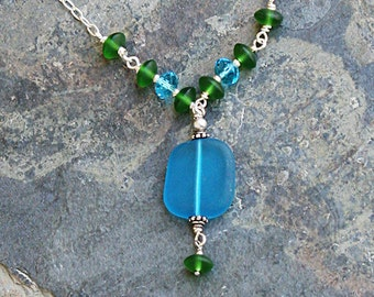 Blue Green Necklace, Sea Glass Necklace, Turquoise Necklace, Handmade Necklace, Spring Necklace, Summer Necklace, Sea Glass Jewelry