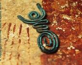 SALE Dancing Moon Goddess Charm Pendant - Rustic Tribal Primitive Verdigris Patina - Copper Wire - Divine Feminine - 1-GCGP