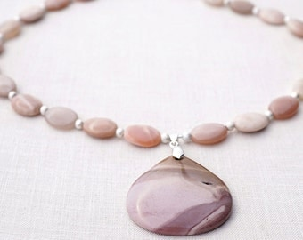 Summer Outdoors Sunstone Necklace Light Pink Mookaite Jasper Pendant. Sterling Silver Stardust Beads. Lovely Natural Gemstones Necklace