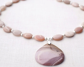 Sunstone Necklace, Light Pink Mookaite Jasper Pendant. Sterling Silver Stardust Beads. Lovely Natural Gemstones Necklace