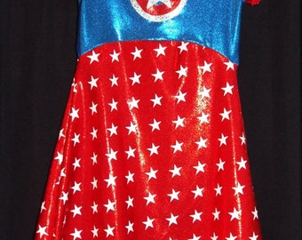 READY to SHIP!!! Lil' Mrs. Capt. America PREMADE Size  Size 5/6