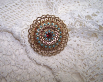 Ruby Rhinestones and Faux Turquoise Vintage Brooch Pin Jewelry Flower VTG Gold Tone Fancy Victorian