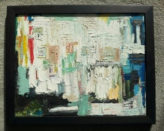 """Abstract Oil Painting on Canvas: Winter White 14"""" X 18"""""""
