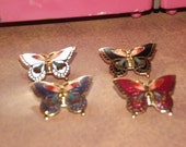 Set of 4 Beautiful Cloisinne Goldtone Butterfly Pins, All Different Colors