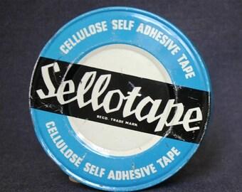 The large blue box. Vintage advertising Sellotape tin box.