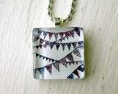 Purple Bunting Necklace, Purple Watercolor Necklace - Pennant Necklace - Glass Tile Pendant Necklace, Wearable Watercolor Art