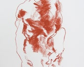 """Expressive Abstract Figure Drawing  - 11 x 14"""",  fine art - Drawing 218 - conte on paper - original drawing"""