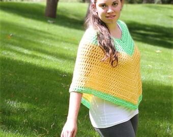 Vibrant Yellow and Green Poncho - Small/Medium