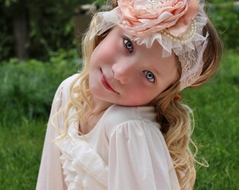 Peach blush headband, ivory headband, satin singed headband, large flower headband, lace headband,baby flower headband,