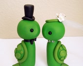 Mr. and Mrs. Turtle - Wedding Cake Topper - ORIGINAL OOAK Miniature Sculptures - Decor