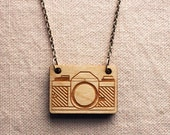 Vintage Camera Necklace : laser cut wood charm, 18-inch Silver-plated chain