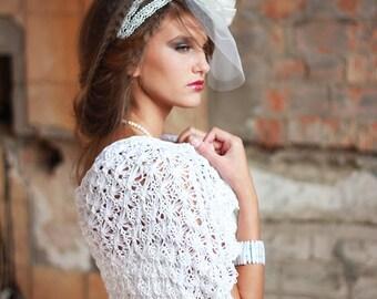 Weddings Shrug White Knitted Bolero White Lace Shrug Bridal Shrug Occasional Shrug