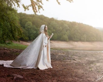 Long damasc cloak with hood bridal cape (Made by order)