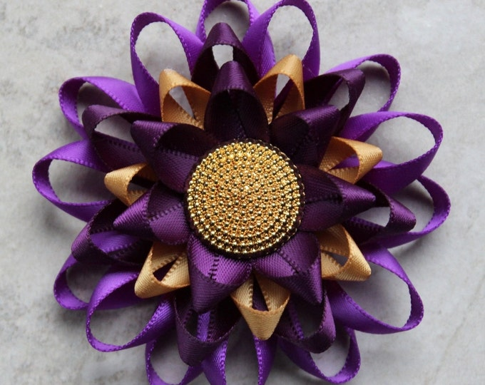 Purple Flower Corsage Pin, Purple Flower Pin, Purple and Gold Wedding, Purple Corsage, Deep Purple Pin, Purple Dress Pin, Purple Flowers