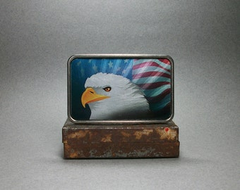 Belt Buckle Bald Eagle American Flag Unique Gift for Men or Women
