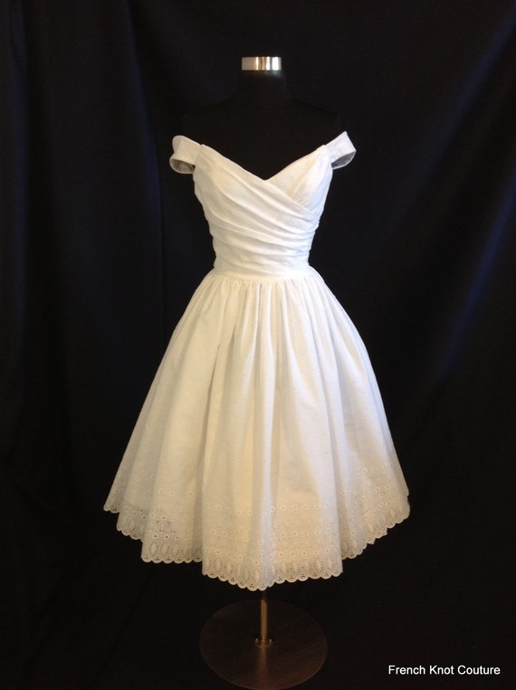 Wedding Dress Tea Length, FLIR-TINI , Off Shoulder Cotton Eyelet