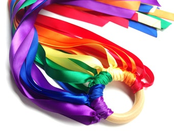 Double Rainbow Hand Kite, Waldorf Whirligig Rainbow Ribbon Streamer for Imaginative Play