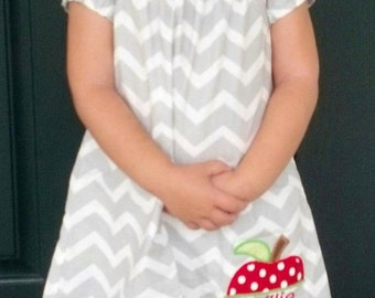 Back to School Apple Personalized Monogrammed Grey and White Chevron Peasant Style Girls Dress