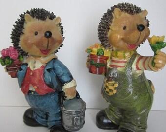 Hedgehogs and Flowers - Ceramic Figurine Duo