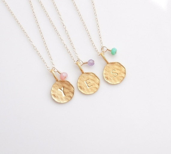 Gold Initial Necklace - Personalized Jewelry - Monogrammed -  Bridesmaid Necklaces
