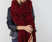 The New Providence Fringe Scarf - Red
