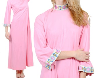 Bohemian Long Maxi Dress - Vintage 70s Hippie Dress - Pink Long Sleeve Princess Dress - Medium - Large