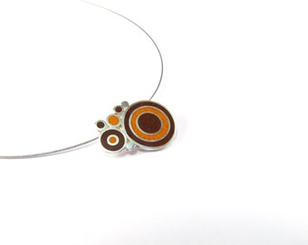 Sterling Silver Pendant, Chocolate, Orange, Colorful, Bubbles, Modern, Contemporary