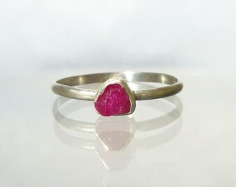 Ruby Ring - Natural Rough Crystal Red Sapphire set in Recycled Silver Ring - Stack Ring