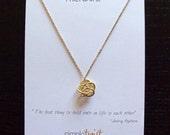 Friendship Necklace / Friend Valentine Gift / Best Friend Necklace / Friendship Quote Best Gift / Small Knot Necklace