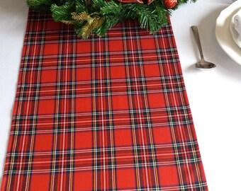 Christmas table runner - plaid , tartan, check, red , black, gold, white