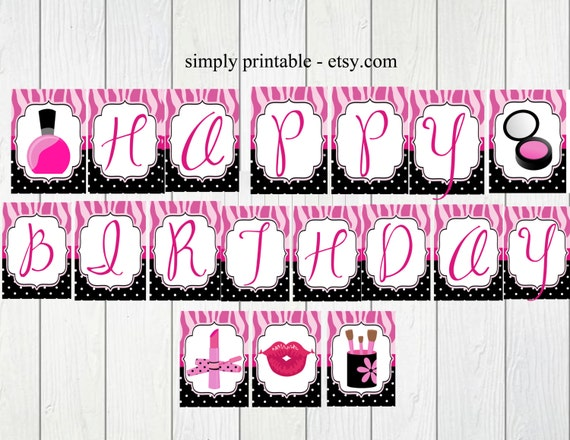 PRINTABLE Glamour Girl Banner (Digital File)