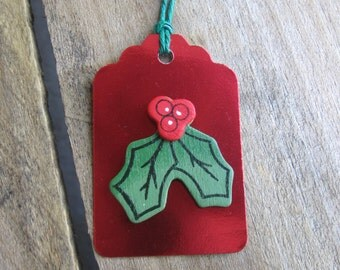 Red Foil Gift Tags, Wood Holly Spray Gift Tag, Set of EIGHT, Red and Green Holiday Tags, Gift Embellishment, Gift Wrap, Christmas Tags, Xmas