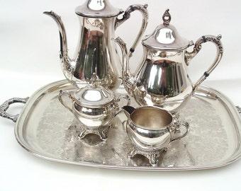 Vintage Coffee Set, Silver Plate Tea Set, Raimond Silver, Metal Serving Tray - Creamer Sugar Bowl - 6 Piece Set