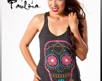 Day of the Dead Screen Print Embroidery Skull Racerback Tank Top