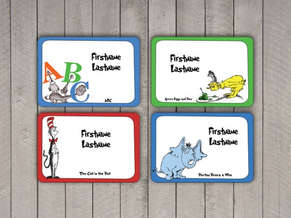 Dr seuss name tag sticker set avery by ampersandcreations for Dr name tag template