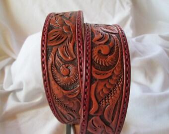 Custom leather belt , burgundy belt , handmade leather belt , tooled floral belt , ladies belts , luxury leather belt