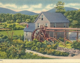 Vintage 1940s North Carolina Postcard Antique Water Wheel Grist Mill Smoky Mountains
