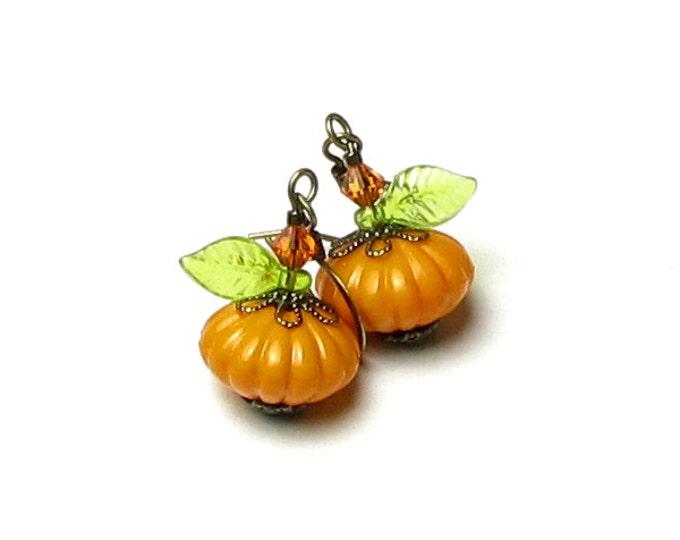 Pumpkin Earrings, Fall Earrings, Antique Brass, Orange Pumpkin Earrings, Autumn Earrings, Pumpkin Spice Jewelry, Fall Leaf, Gift for Teacher