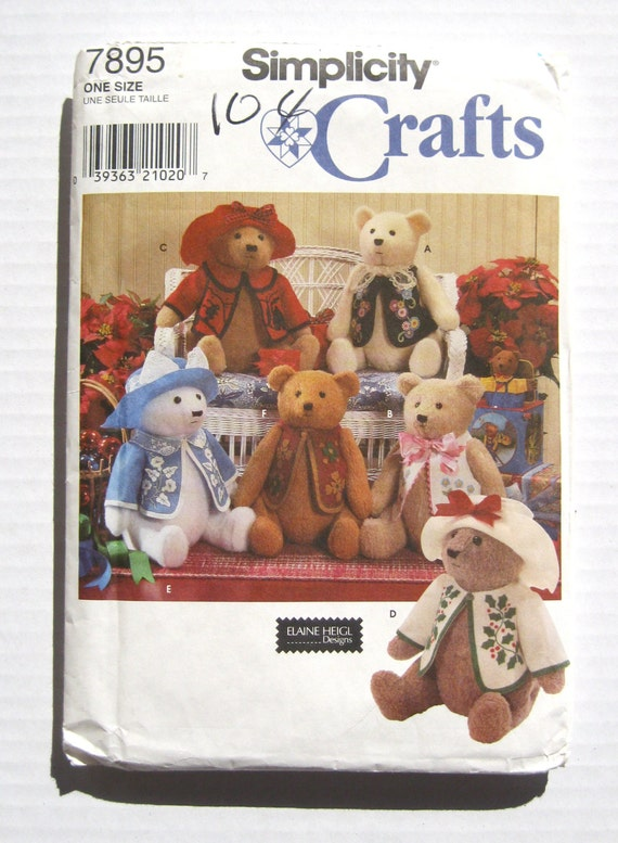 Teddy Bear Pattern 18 Inch Jointed Bear Simplicity 7895