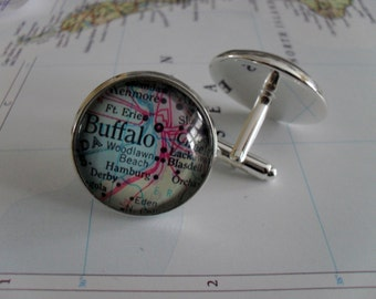 BUFFALO MAP CUFFLINKS // Silver // Father's Day // Groomsmen Gift // Cufflinks // Gift for Him // Buffalo Cufflinks // Map Cuff Links