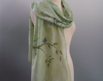 Hand Dyed Green Cotton Scarf with Hand Printed Blue Birds on Branches