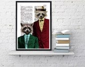 DECORATIVE ART- Racoon Pals  -Wall decor, Unique Gift- Coon pals Coons with suit wall hanging - Poster Print art funny poster wall BPAN169