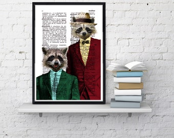 Summer Sale Racoon Pals Wall decor, Unique Gift Coon pals Coons with suit wall hanging funny poster wall dcorative art  ANI169