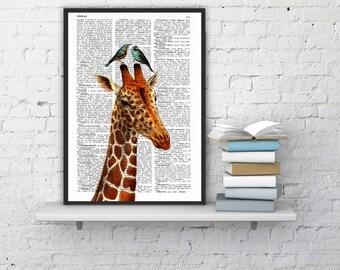 Summer Sale Honeymoon Giraffe Wall Hanging,GIRAFFE Print, Giraffe decor, Giraffe Wall, Giraffe Wall Decor, Giraffe Painting ANI006
