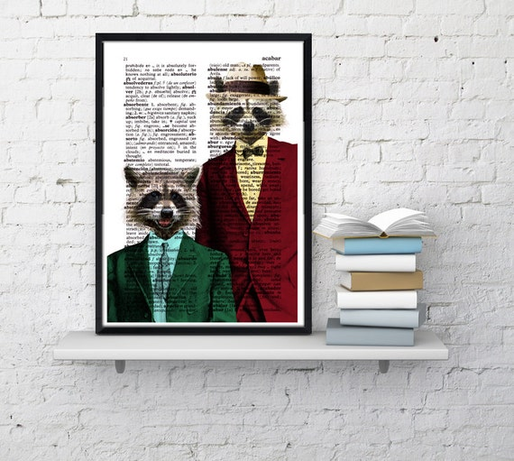 Christmas Sale Racoon Pals Wall decor, Unique Gift Coon pals Coons with suit wall hanging funny poster wall dcorative art  ANI169